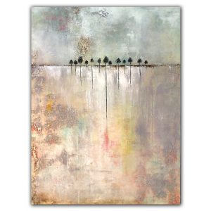 Rooted No. 7 contemporary abstract landscape with trees oil painting