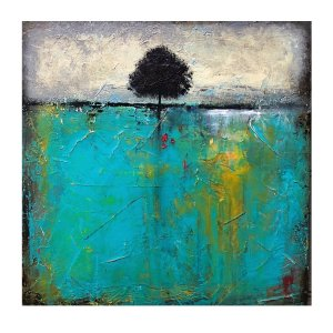 Acrylic abstract turquoise with tree painting