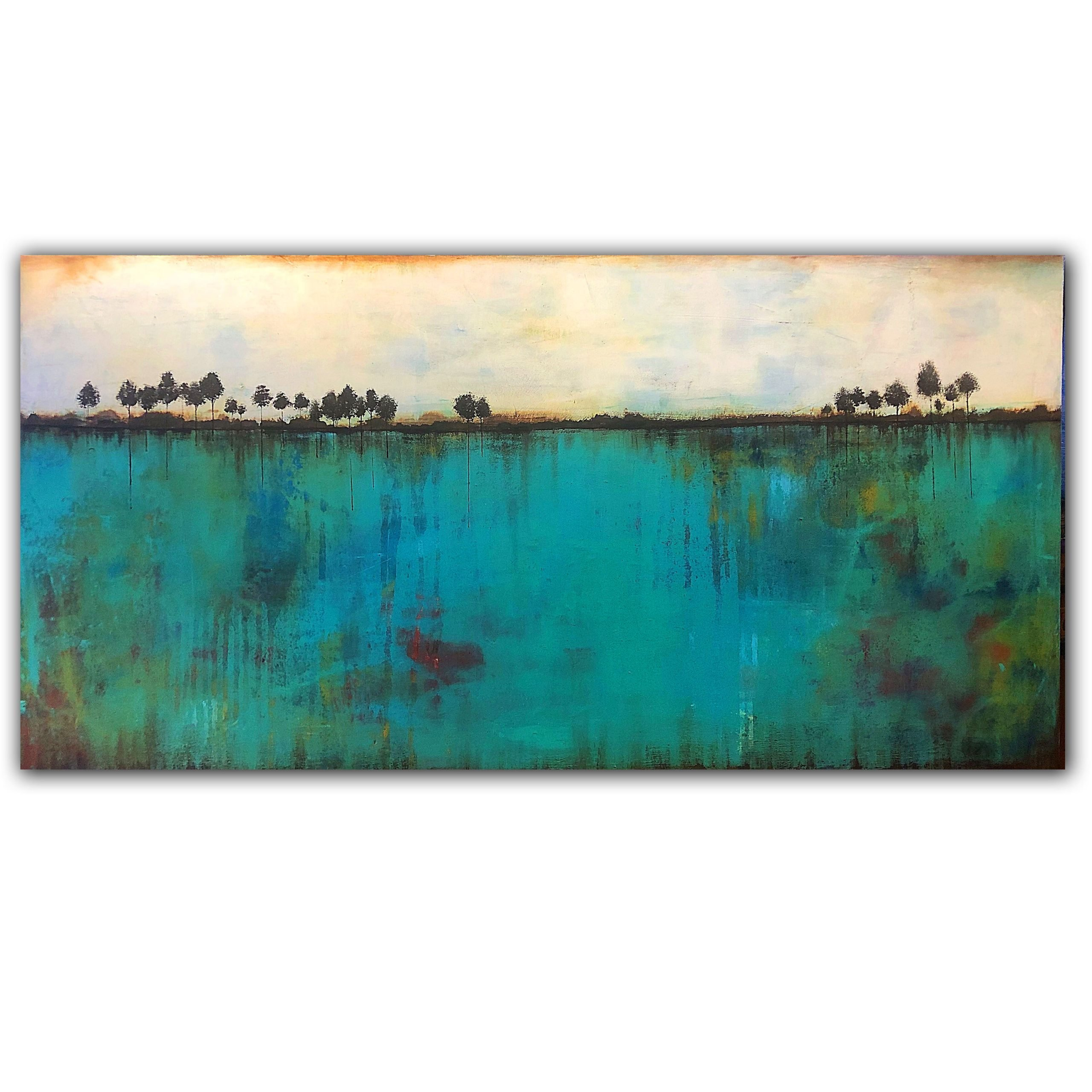 Turquoise and green multi layered abstract landscape oil painting