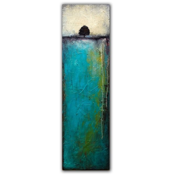 Long and thin landscape abstract painting on canvas