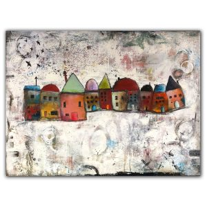 Abstract oil painting with buildings