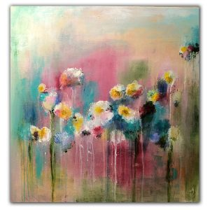 Abstract acrylic flower bouquet painting on canvas