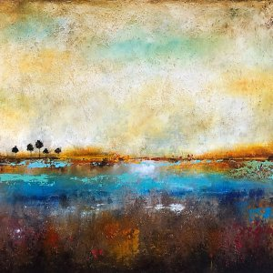 The Pond No. 3 - oil and cold wax abstract landscape painting by contemporary artist Jaime Byrd