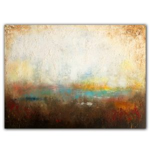 Landscape pond abstract oil and mixed media painting