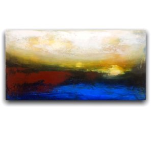 Twilight abstract landscape oil and cold wax painting