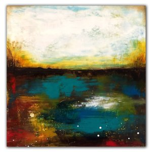 Pond of Silence - Abstract affordable contemporary oil painting