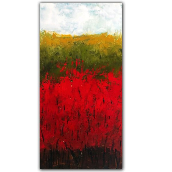 Red Bush landscape abstract oil painting
