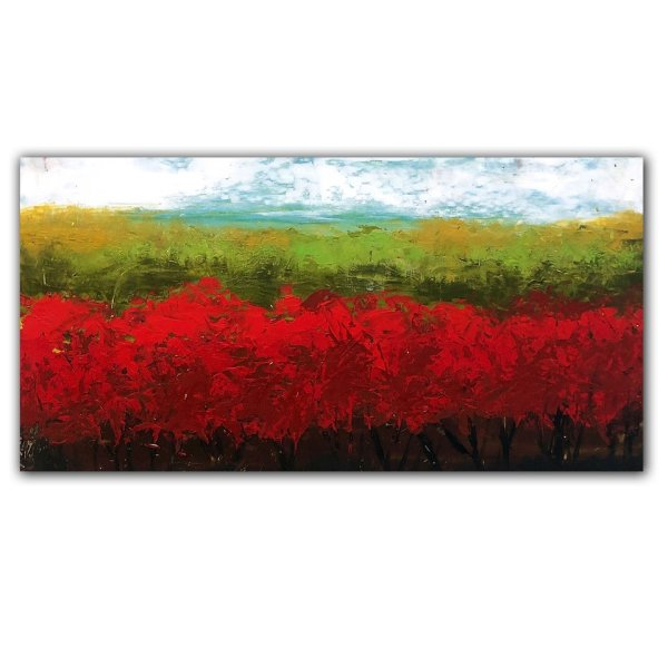 Red Bush No. 2 - Abstract landscape oil painting