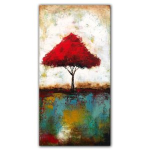 Red Tree No. 2 Affordable landscape art - oil painting