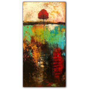 Rooted Deep No. 7 - Affordableoil painting abstract landscape with tree