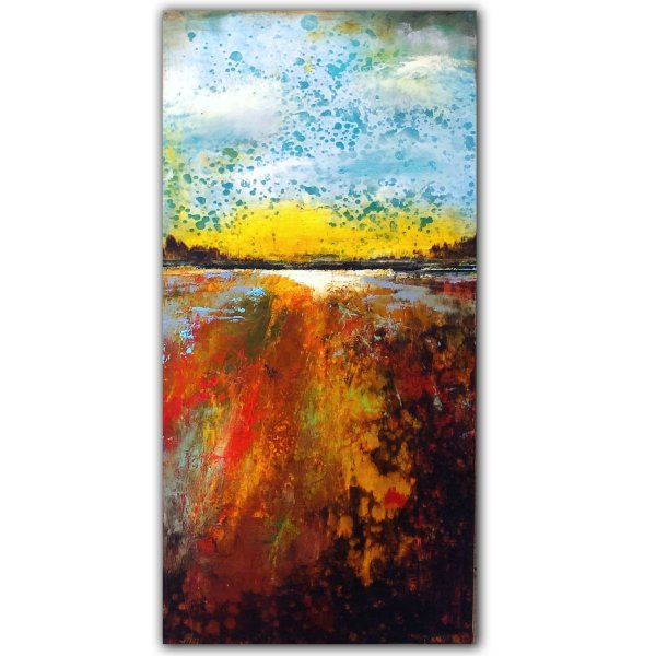Colorful landscape sunset oil abstract painting by Jaime Byrd