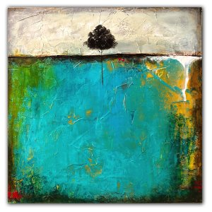 Green and blue abstract acrylic painting of a tree and lanscape