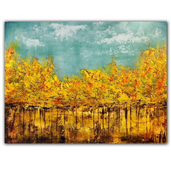 Yellow fall leaf abstract oil painting landscape by Jaime Byrd