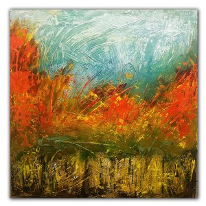 Orange and yellow fall autumn landscape oil painting by Jaime Byrd