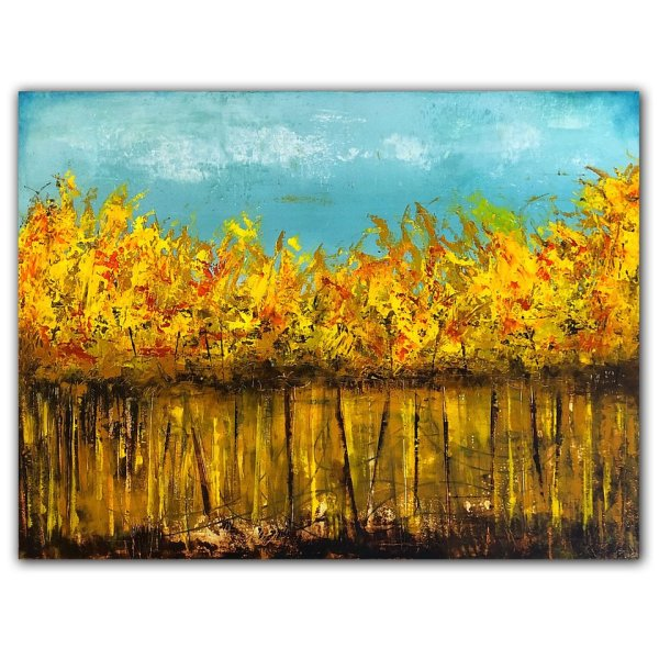 Fall Trees No. 3 by Jaime Byrd - oil and cold wax abstract landscape painting