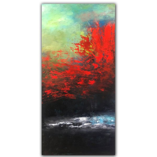 Dramatic red and black oil and cold wax painting by Jaime Byrd