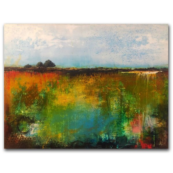 Abstract colorful landscape oil painting with trees by Jaime Byrd