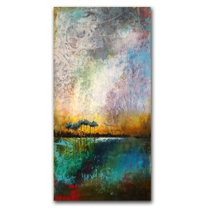 Hope Shines Through - Oil and Cold Wax abstract landscape painting by Jaime Byrd with trees