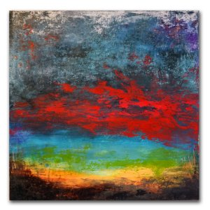 Abstract blue red green yellow landscape oil painting by Jaime Byrd