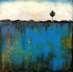 Bluescape - oil and cold wax landscape painting by Jaime Byrd