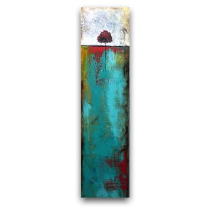 Dogwood in the fall - Abstract oil and cold wax painting by Jaime Byrd