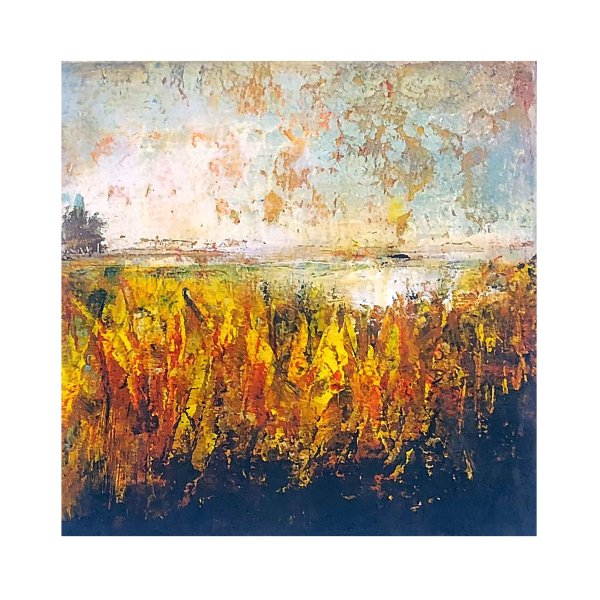Forsythia Bloom - Oil and cold wax abstract painting by Jaime Byrd
