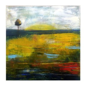 Good Morning - oil and cold wax abstract landscape painting by Jaime Byrd