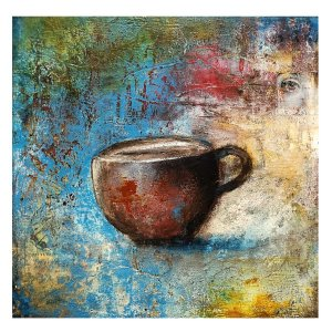 I See Coffee In My Future - contemporary oil and cold wax painting by Jaime Byrd
