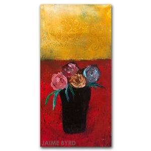 Cheerful Memories - oil and cold wax abstract painting with flowers by Jaime Byrd