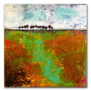 Path Of Light - oil and cold wax landscape painting by abstract artist Jaime Byrd