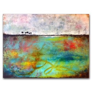 Peaceful Journey - contemporary art by Jaime Byrd - abstract landscape in oil and cold wax