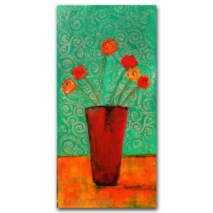 Floral Arrangement No. 1 - oil and cold wax abstract flower painting by contemporary artist Jaime Byrd
