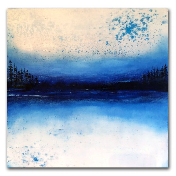 Peaceful Simplicity - Abstract blue landscape in oil and cold wax by contemporary artist Jaime Byrd