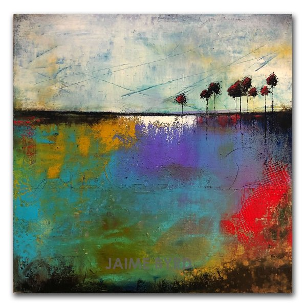 Sunny Afternoon - oil and cold wax abstract landscape painting by contemporary artist Jaime Byrd