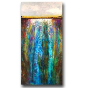 Colorful blue and green waterfall oil painting by Jaime Byrd