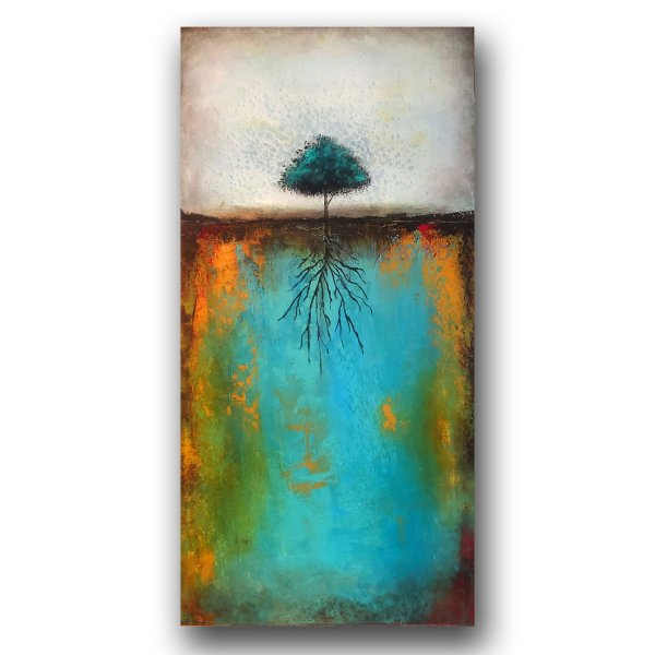 Growing Strong - abstract landscape with tree oil and cold wax and augmented reality by contemporary artist Jaime Byrd