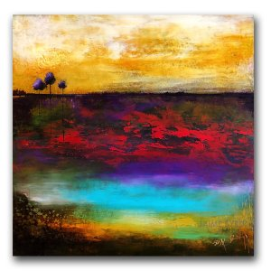 Solid Ground - abstract landscape oil and cold wax painting by contemporary artist Jaime Byrd