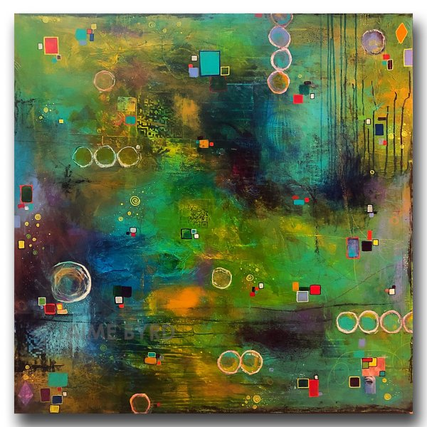 Blockchain 2021 - mixed media abstract by contemporary artist Jaime Byrd
