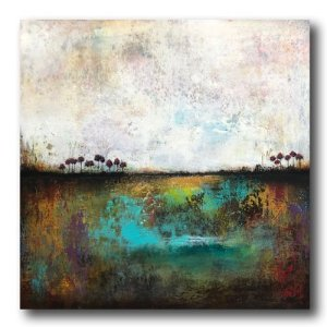 In The Wild - abstract landscape oil and cold wax painting with AR by contemporary artist Jaime Byrd