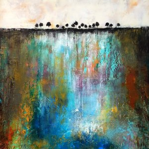 Quality Time - abstract landscape oil and cold wax painting with Augmented Reality by contemporary artist Jaime Byrd