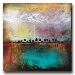Summer Storm - abstract landscape oil and cold wax painting with ar by contemporary artist Jaime Byrd