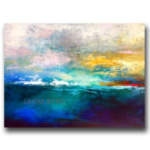 Abstract sunset sunrise landscape blue oil painting
