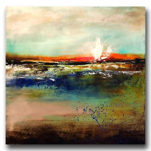 Colorful water landscape in oil and cold wax by Jaime Byrd