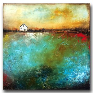 Unchanged No. 2 - abstract oil and cold wax painting with house by contemporary artist Jaime Byrd