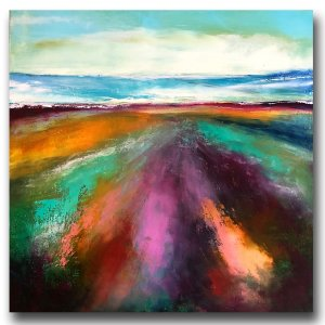 Ocean Breeze - oil and cold wax abstracted landscape by contemporary artist Jaime Byrd