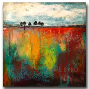 Multi color bright oil abstract landscape painting by Jaime Byrd