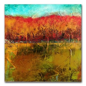 A New Day - abstract landscape oil and cold wax painting by contemporary artist Jaime Byrd