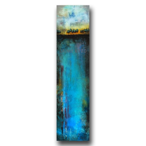 Blue landscape abstract painting with trees