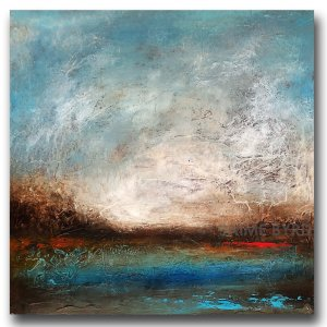 Fairview Morning No. 2 - oil and cold wax painting abstract landscape by contemporary artist Jaime Byrd