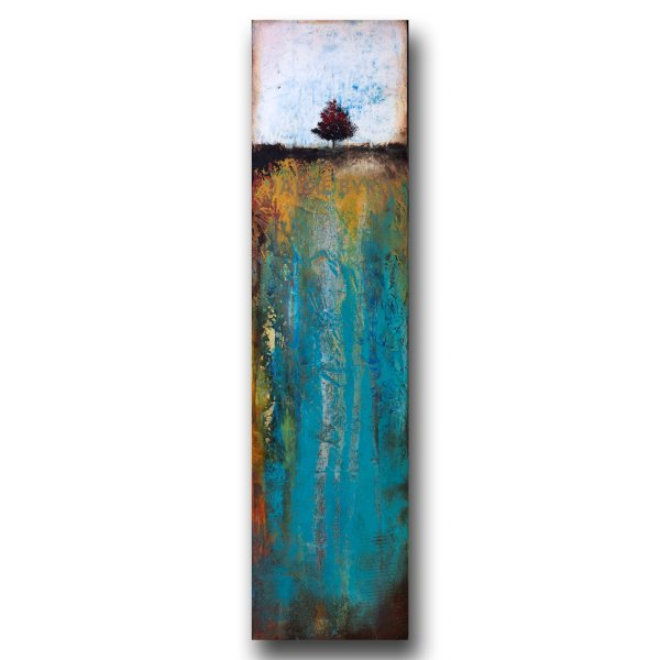 The Ground Below No. 2 - abstract landscape with tree in oil and cold wax by contemporary artist Jaime Byrd